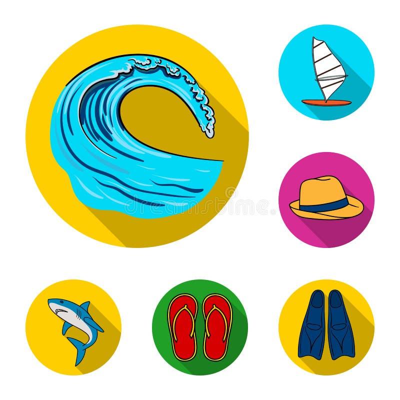 Iconos planos que practican surf y extremos en la colección del sistema para el diseño La persona que practica surf y los accesor stock de ilustración