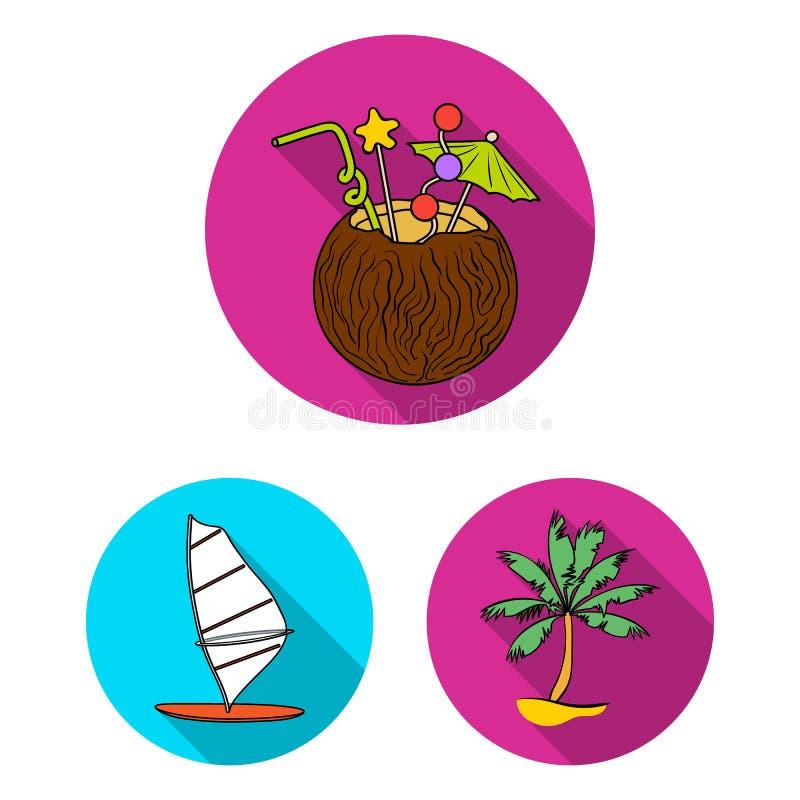 Iconos planos que practican surf y extremos en la colección del sistema para el diseño La persona que practica surf y los accesor libre illustration