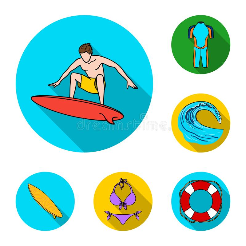 Iconos planos que practican surf y extremos en la colección del sistema para el diseño La persona que practica surf y los accesor ilustración del vector