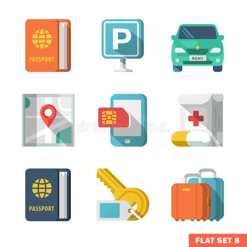 Iconos planos que viajan 2 ilustración del vector
