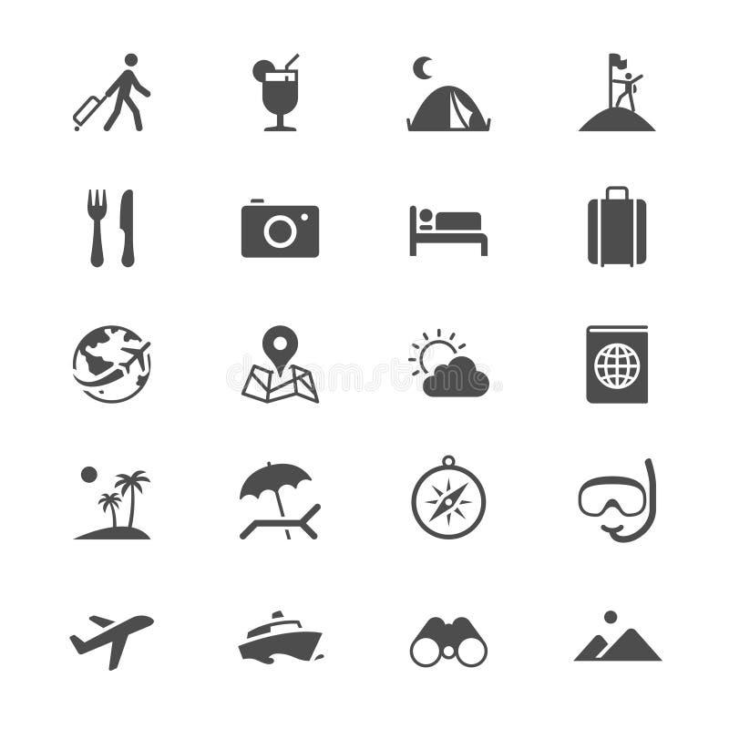 Iconos planos que viajan stock de ilustración