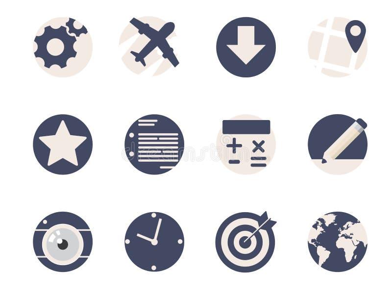 Iconos planos redondeados ilustración del vector