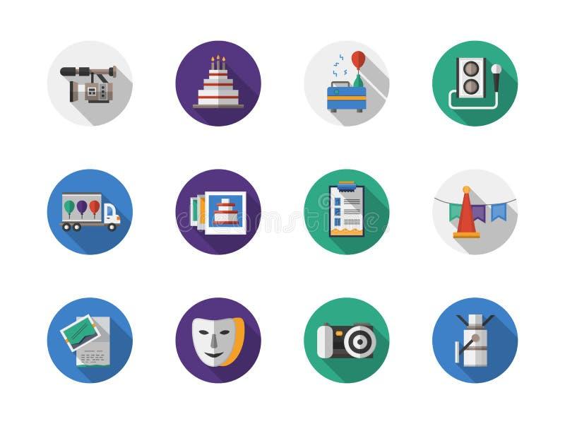 Iconos planos redondos del color de la organización de partido ilustración del vector