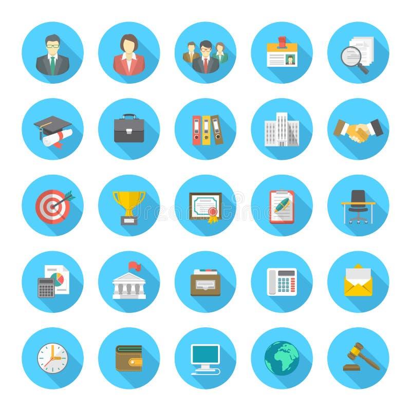 Iconos planos redondos del curriculum vitae ilustración del vector