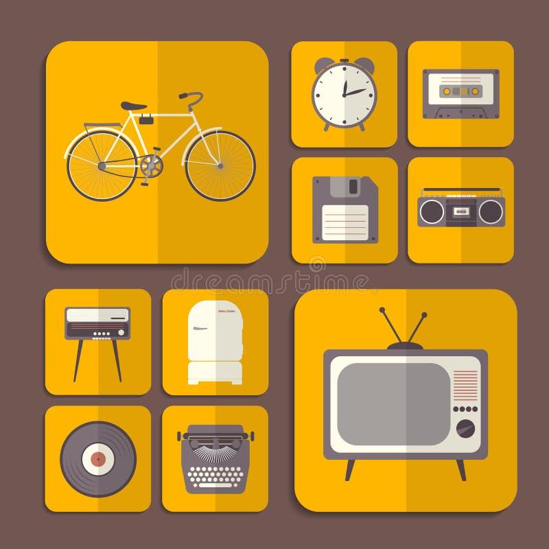 Iconos planos retros en color anaranjado ilustración del vector