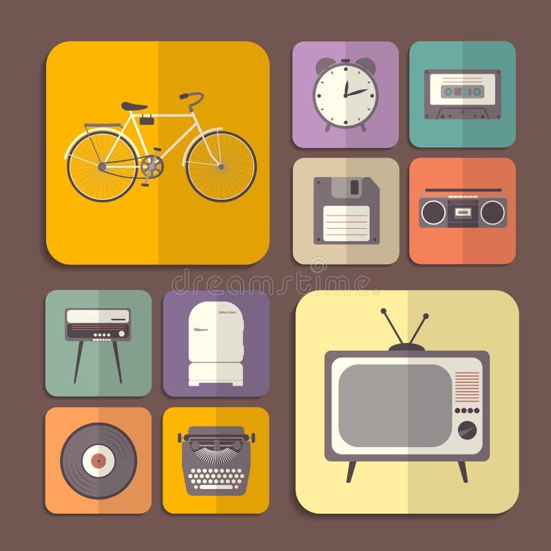 Iconos planos retros en diversos colores ilustración del vector