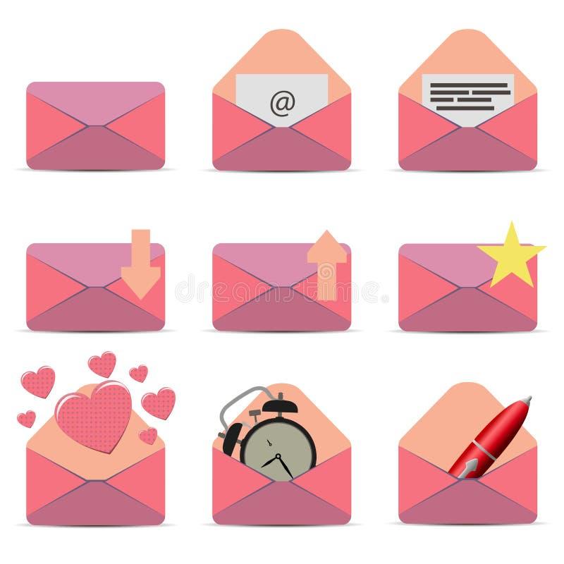 Iconos planos rosados del sobre del vector stock de ilustración