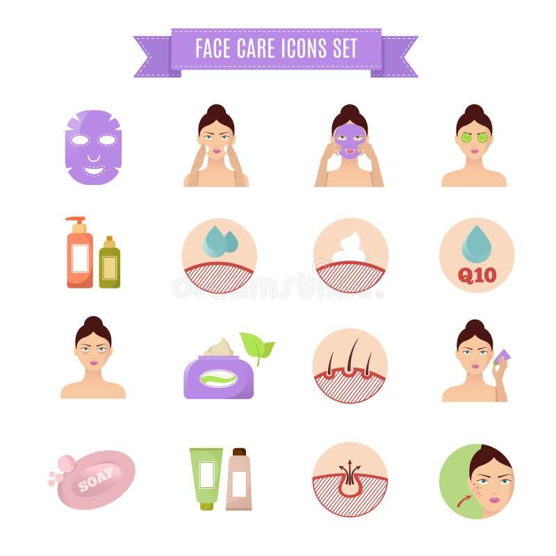 Iconos planos sanos del vector de la piel y del cuidado libre illustration
