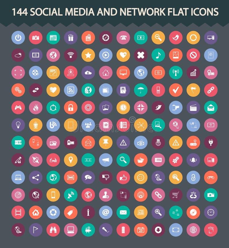 Iconos planos sociales de los medios y de la red libre illustration