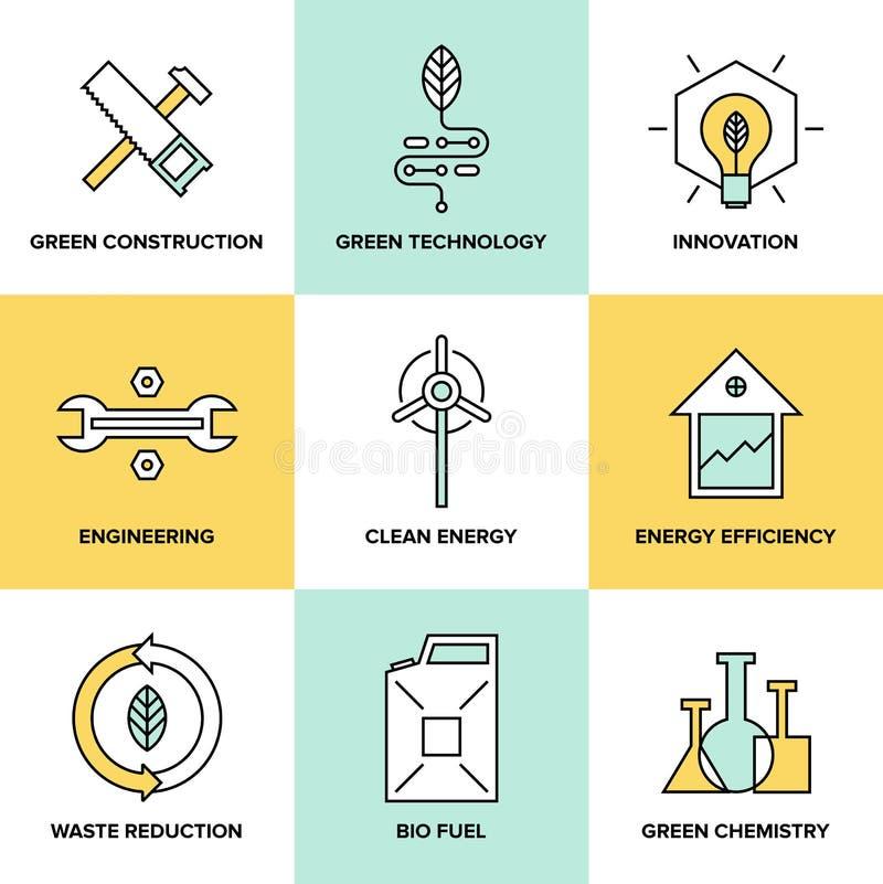 Iconos planos verdes de la tecnología y de la energía limpia fijados stock de ilustración