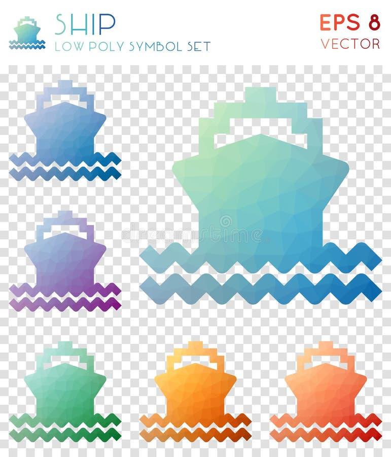 Iconos poligonales geométricos de la nave libre illustration