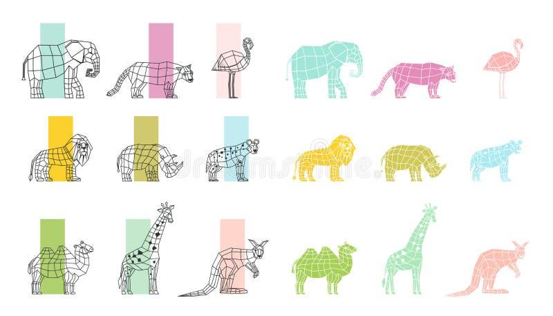 Iconos poligonales planos de los animales salvajes fijados stock de ilustración