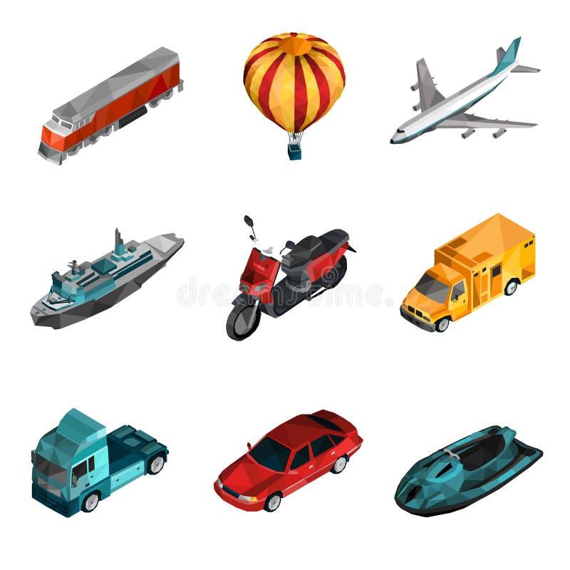 Iconos polivinílicos bajos del transporte ilustración del vector