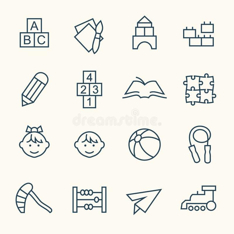 Iconos preescolares ilustración del vector
