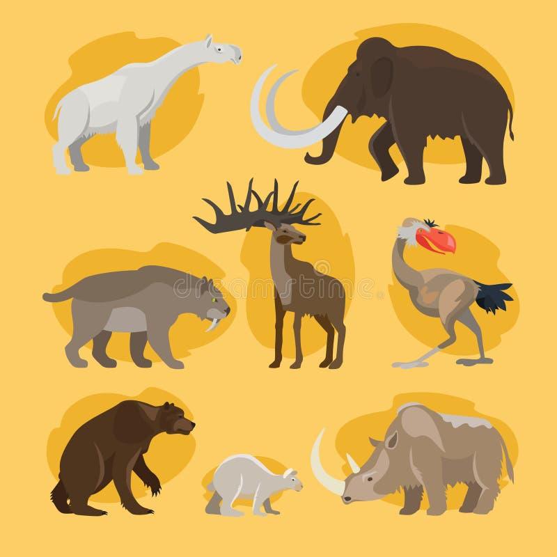 Iconos prehistóricos de la historieta de los animales stock de ilustración