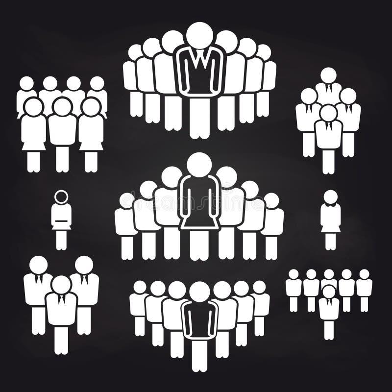 Iconos principales del concepto del equipo en la pizarra libre illustration