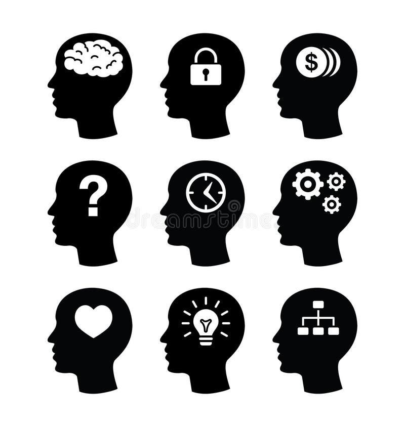 Iconos principales del vecotr del cerebro fijados stock de ilustración