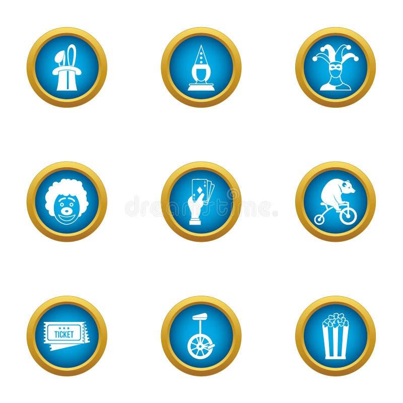 Iconos privados fijados, estilo plano del circo ilustración del vector