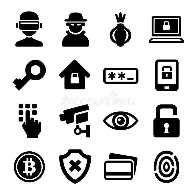 Iconos profundos oscuros de Internet y de la seguridad fijados Vector libre illustration