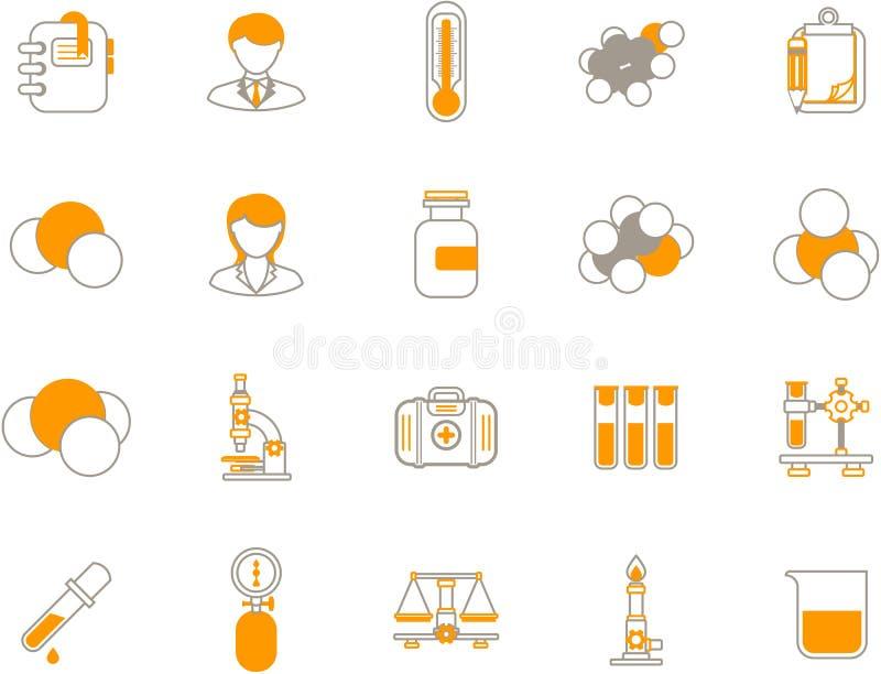 Iconos químicos stock de ilustración