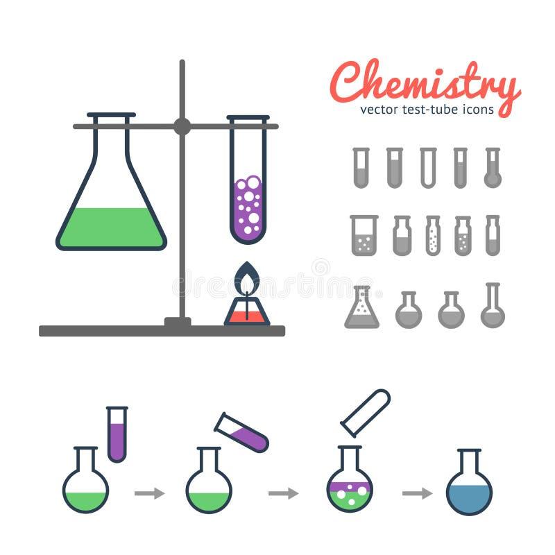 Iconos químicos de los tubos de prueba stock de ilustración