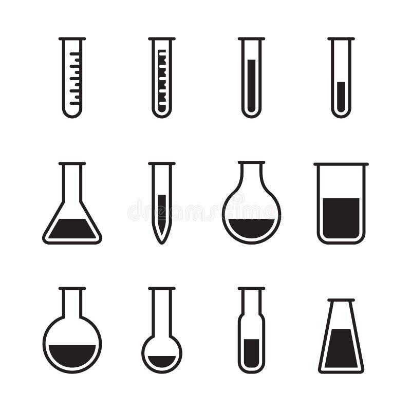 Iconos químicos del tubo de ensayo ilustración del vector