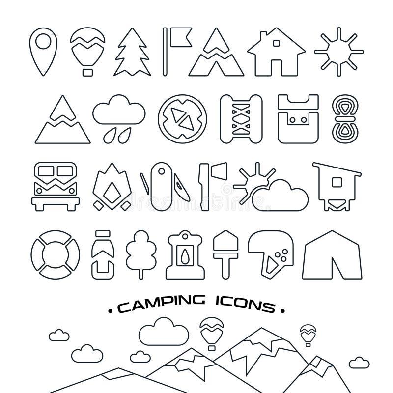 Iconos que acampan stock de ilustración