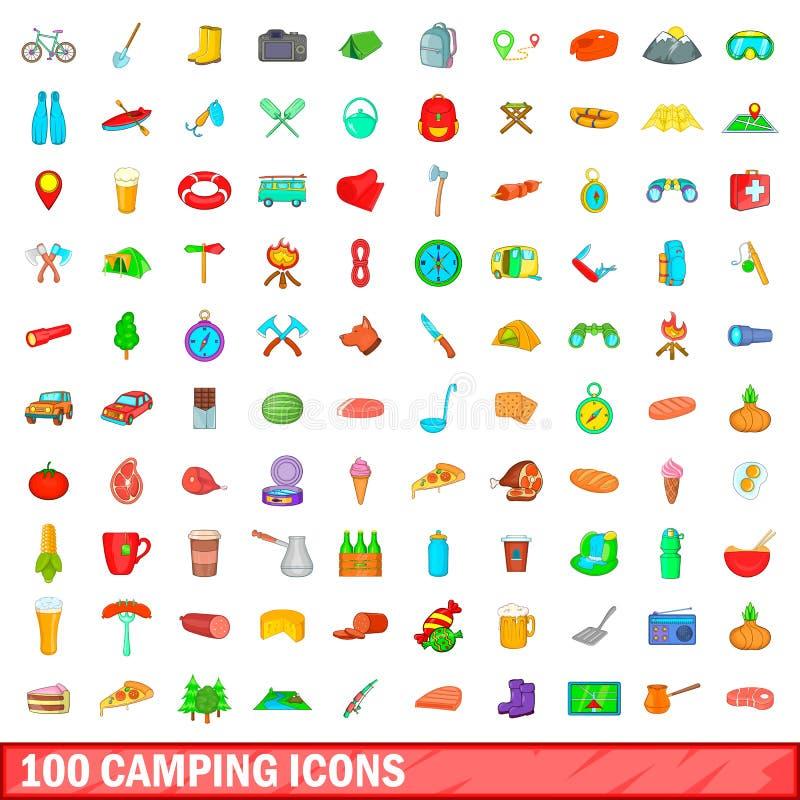 100 iconos que acampan fijados, estilo de la historieta ilustración del vector