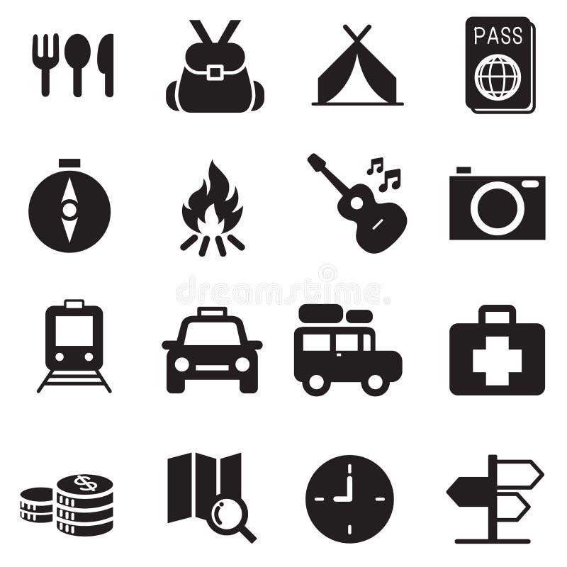 Iconos que acampan que viajan del descubrimiento stock de ilustración