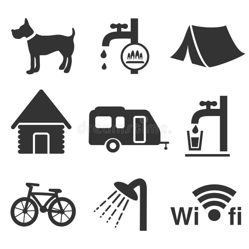 Iconos que acampan - sistema 1 ilustración del vector