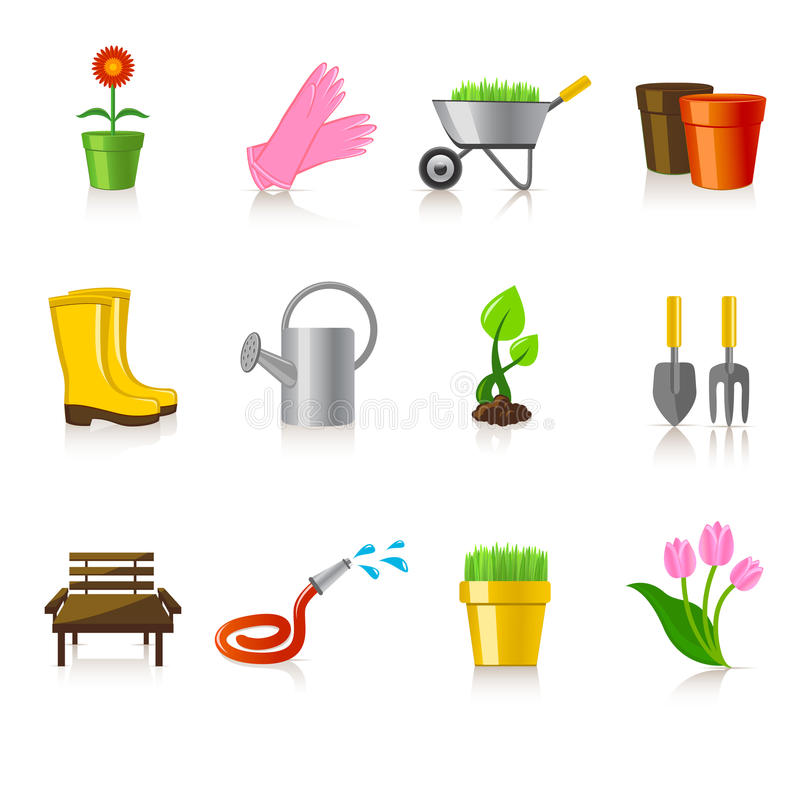 Iconos que cultivan un huerto ilustración del vector