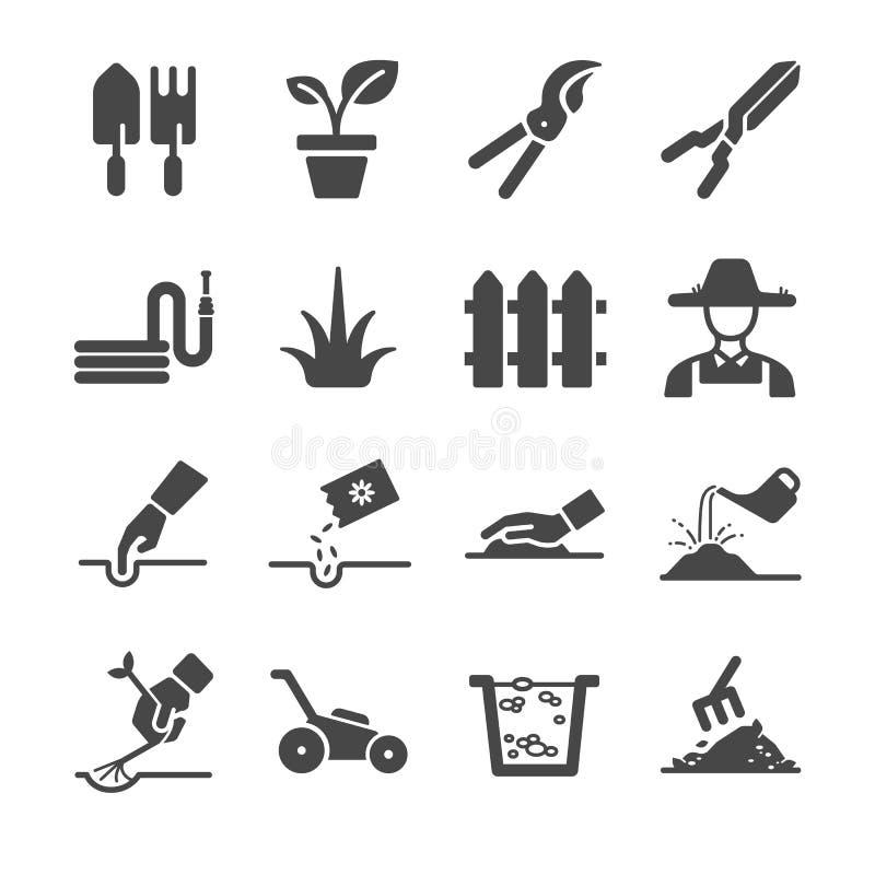Iconos que cultivan un huerto libre illustration