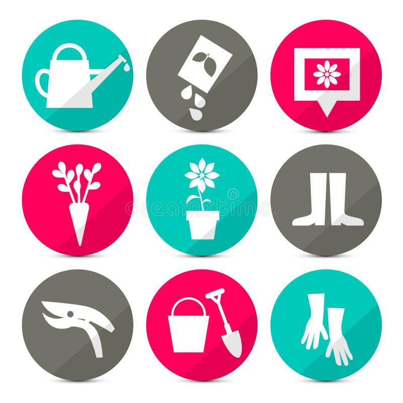 Iconos que cultivan un huerto del vector - sistema de herramientas en estilo retro ilustración del vector