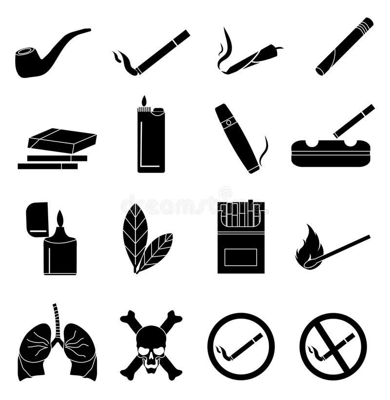 Iconos que fuman fijados stock de ilustración