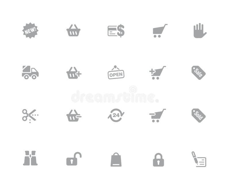 Iconos que hacen compras //32 series blancas de los iconos de los pixeles ilustración del vector