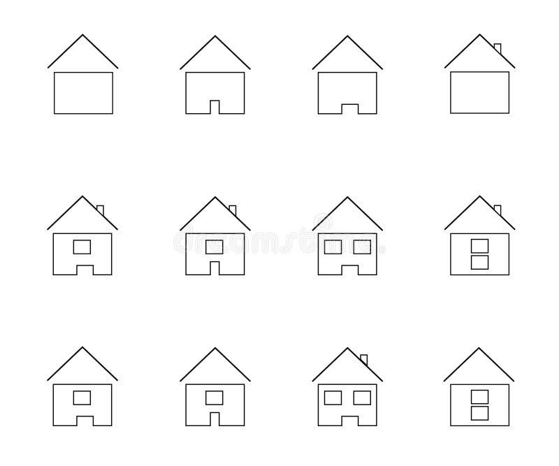 Iconos que representan la casa stock de ilustración