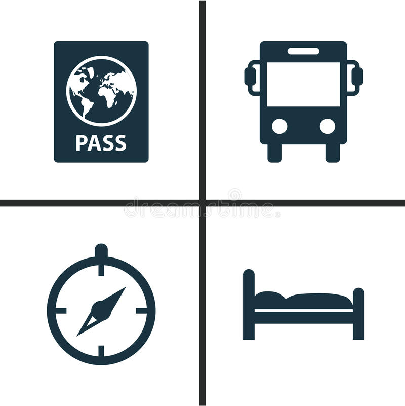 Iconos que viajan fijados Colección de certificado, de transporte, de Doss y de otros elementos También incluye símbolos tal como stock de ilustración