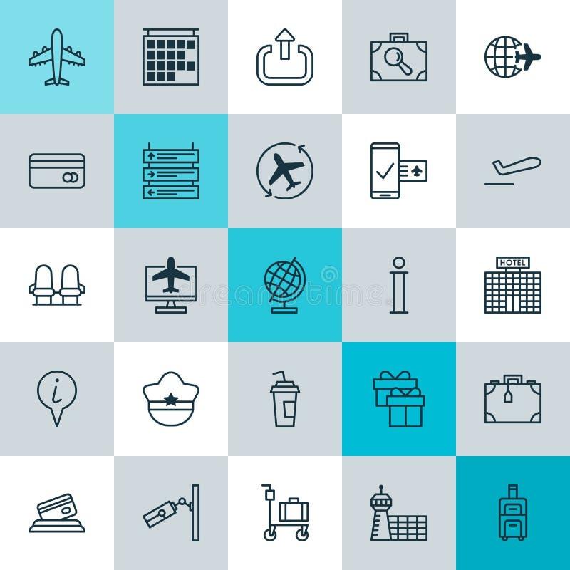 Iconos que viajan fijados Colección de horario plano, maleta, elementos de Hat And Other del piloto También incluye símbolos tal  libre illustration