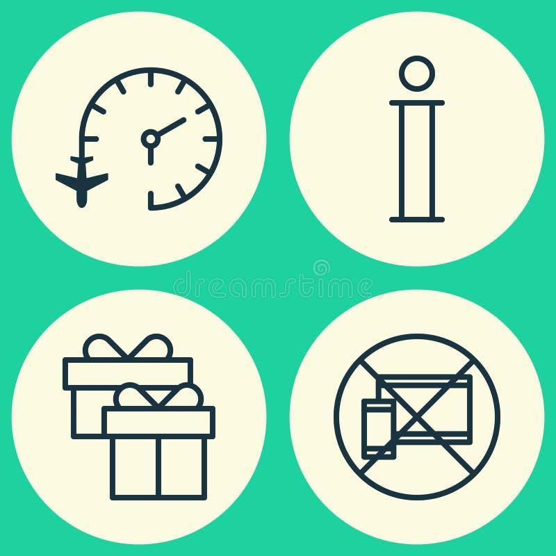Iconos que viajan fijados Colección de reloj de viaje, de móvil prohibido, de información y de otros elementos También incluye sí ilustración del vector