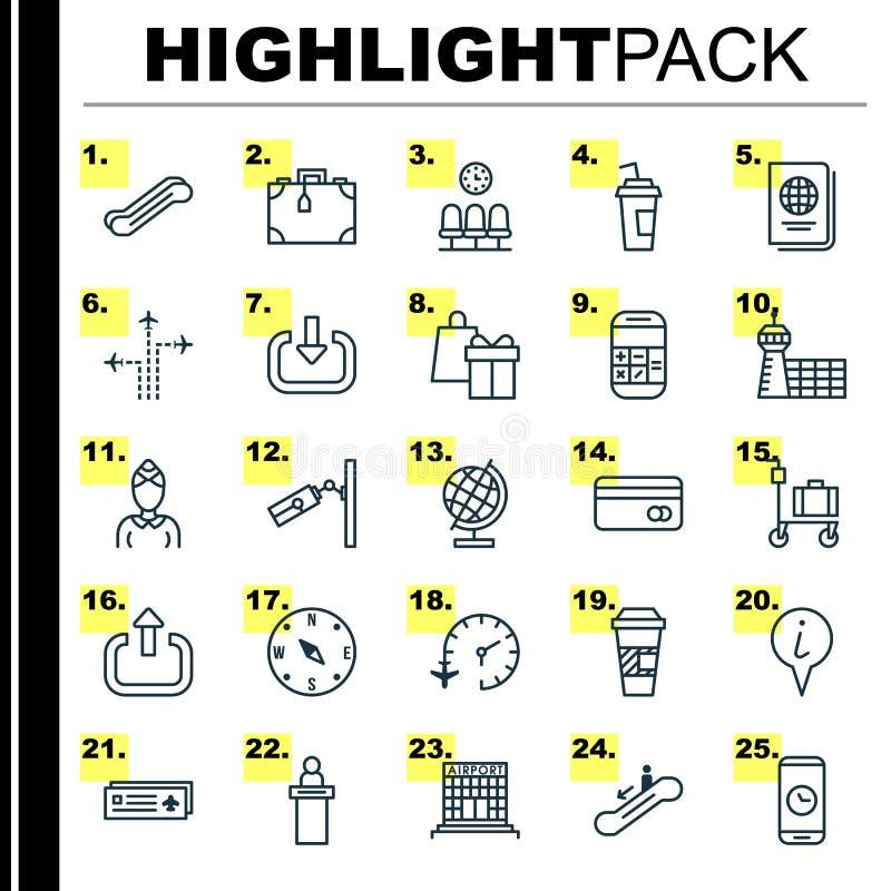 Iconos que viajan fijados Colección de tarjeta del aeropuerto, elevación de la escalera, presentadora And Other Elements También  stock de ilustración