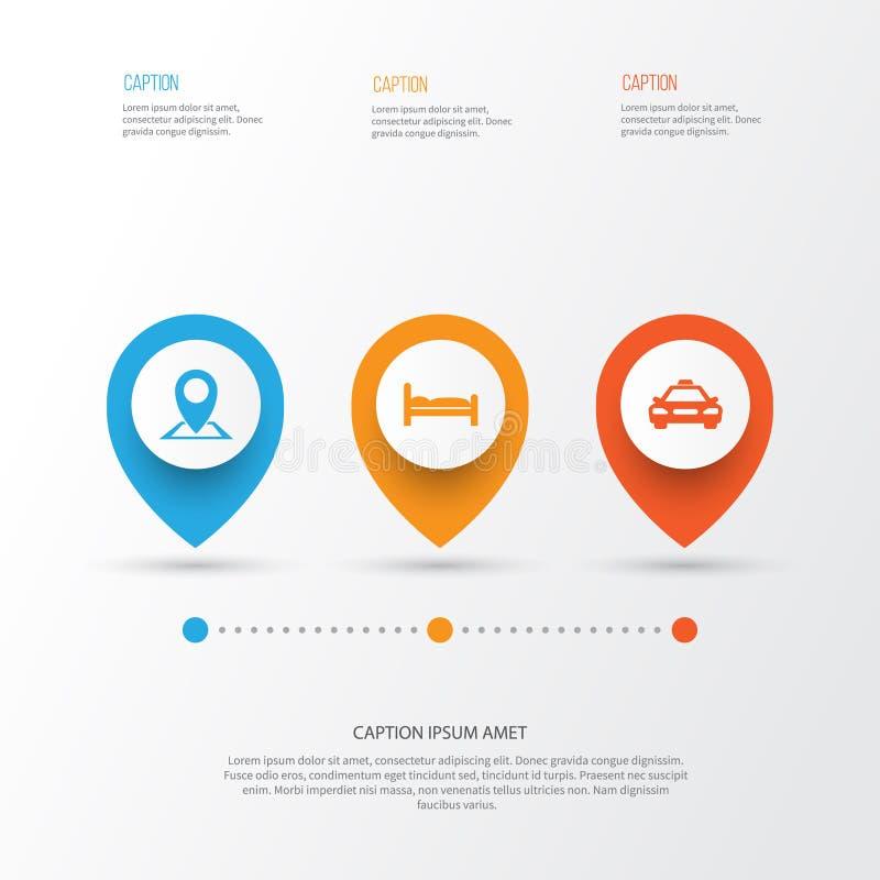 Iconos que viajan fijados Colección de ubicación, de coche, de Doss y de otros elementos También incluye símbolos tal como el Dos libre illustration