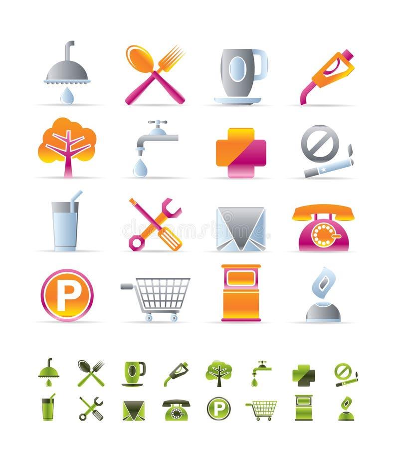 Iconos realistas de la gasolinera y del recorrido ilustración del vector