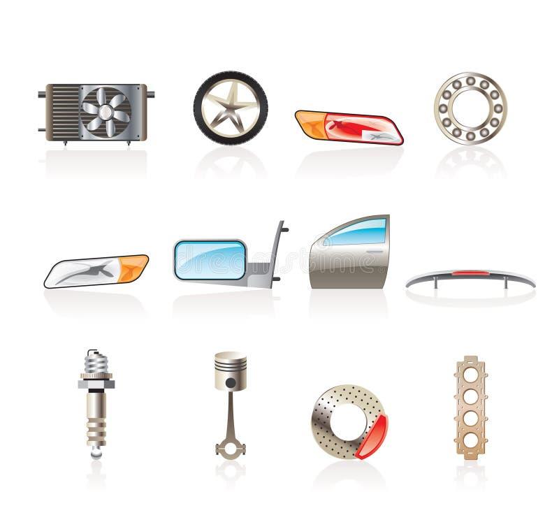 Iconos realistas de las piezas y de los servicios del coche ilustración del vector