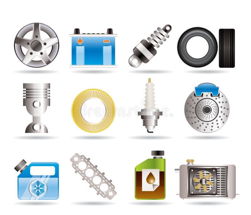 Iconos realistas de las piezas y de los servicios del coche libre illustration