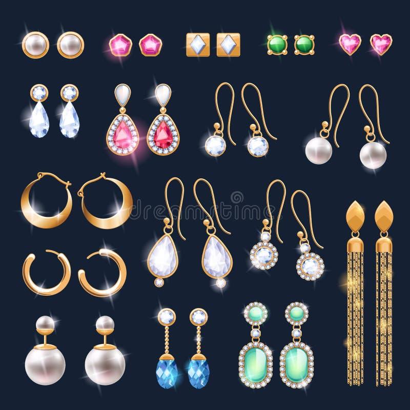 Iconos realistas de los accesorios de la joyería de los pendientes fijados stock de ilustración
