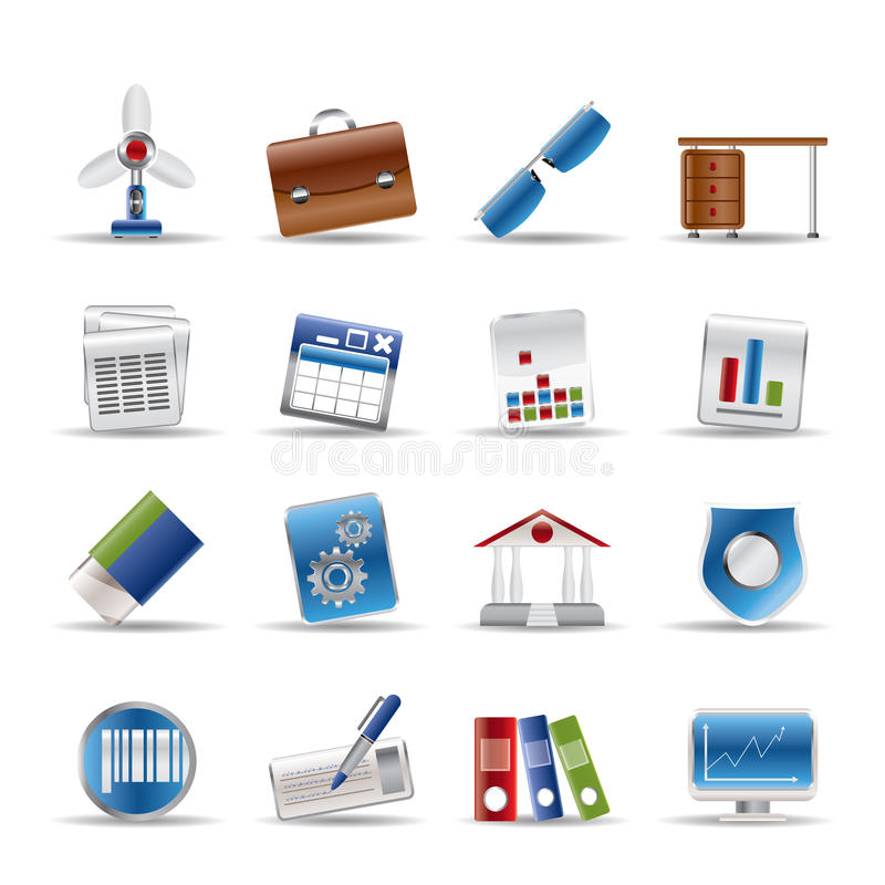 Iconos realistas del asunto y de la oficina stock de ilustración