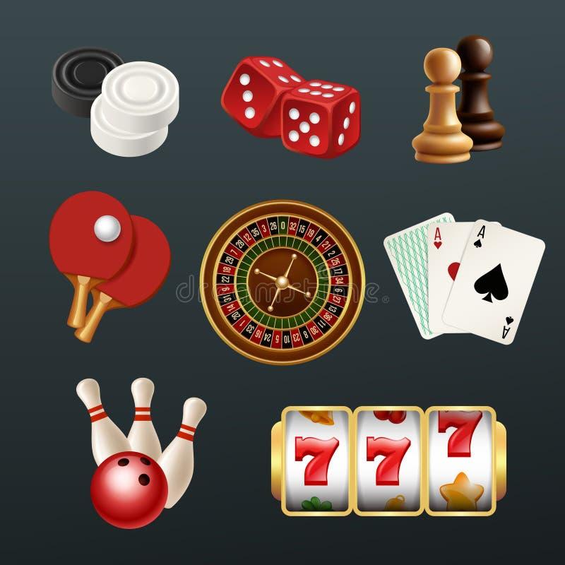 Iconos realistas del juego Los símbolos de juego del casino del web del dominó de los bolos de los dados del póker vector los eje libre illustration