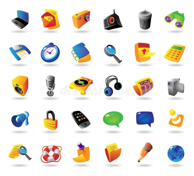 Iconos realistas fijados para el interfaz libre illustration