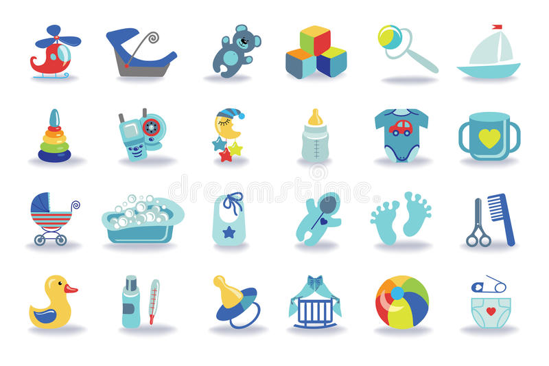 Iconos recién nacidos del bebé fijados Equipo de la fiesta de bienvenida al bebé stock de ilustración