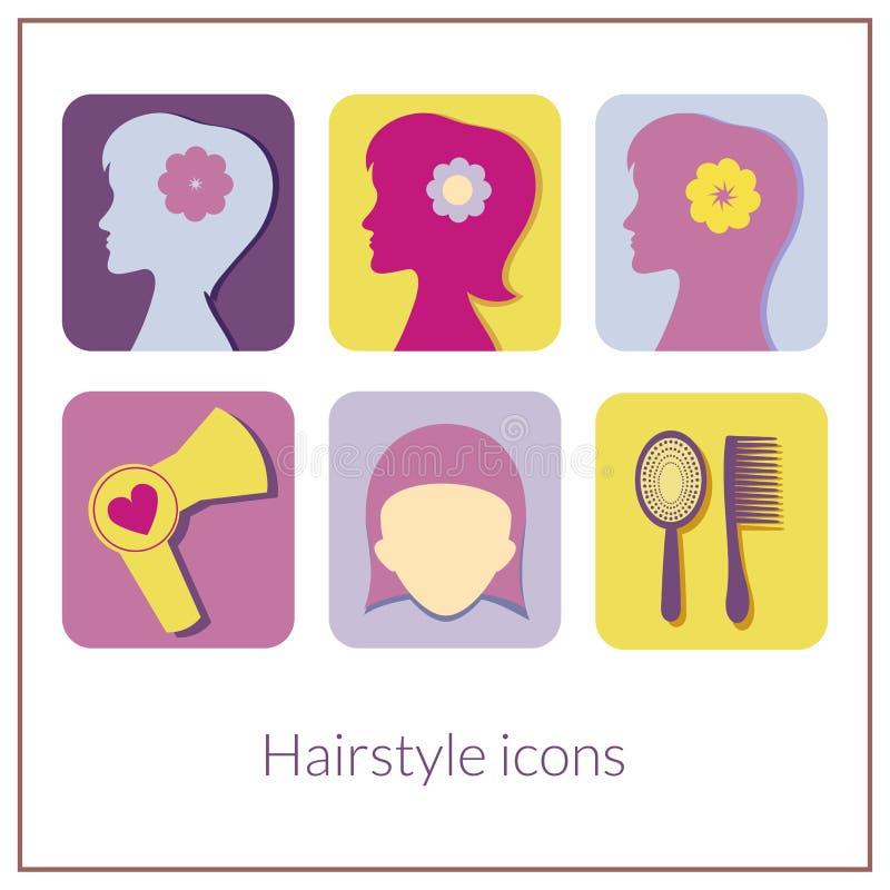 Iconos rectangulares del peinado con las esquinas redondeadas libre illustration